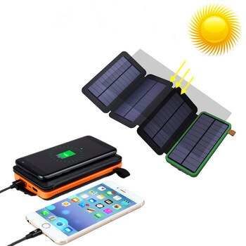 Folding 8W Solar Charger Waterproof battery 20000mAh External portable power solar wireless power bank for Digital products