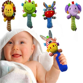 New Soft Plush Baby Toy Animal Hand Bells Baby Rattle Toys High Quality Newborn Gift Animal Style Hand Bell Rattle