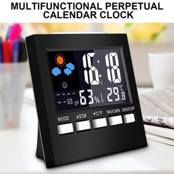 Electronic Digital Alarm Clock Digital Clock Calendar Voice Control LCD Screen with Backlight Display for Home Bedroom or Office